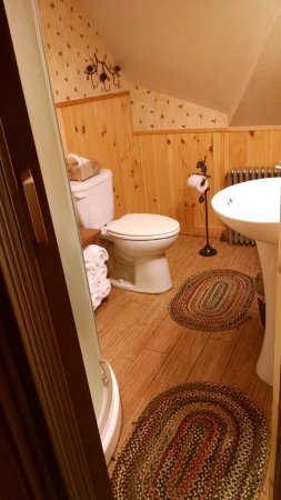 Schroon Lake, NY: Suite bathroom (Neo angle round shower with rain showerhead)