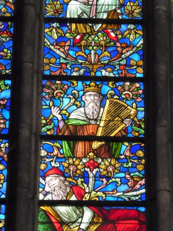 Oudenaarde, Belgium: neo-gothic stained glass window