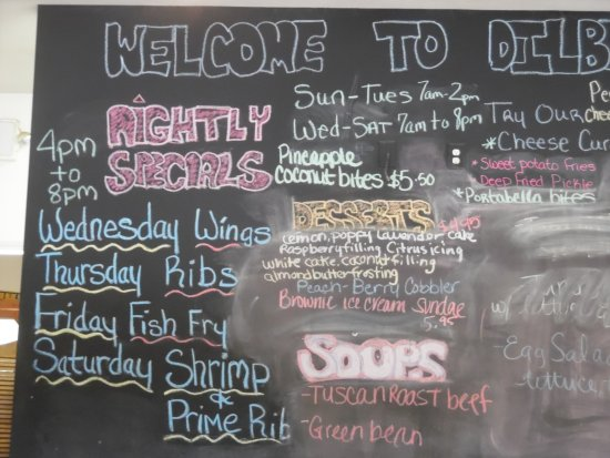 "Interlochen, MI: Their ""specials "" chalk board"