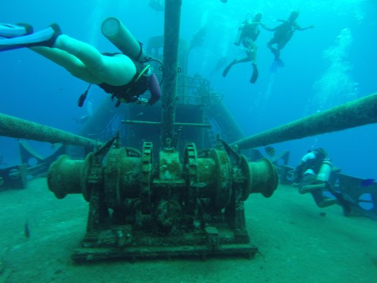 Kittiwake Shipwreck & Artificial Reef: Our dive master leading the way