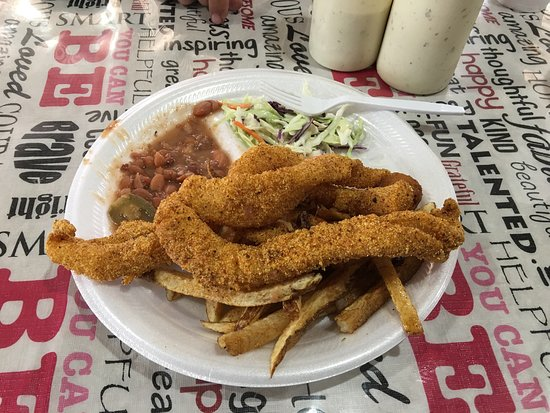 We enjoy the fried fish plate at Brady's on 377 in Brady. They also offer a signature pecan pie