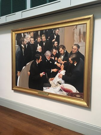 Painting of the first surgery to use ether anesthesia