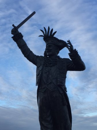 "Maffeo Sutton Park: The Frank Ney statue lends a ""pirate"" atmoshpere to the waterfront"