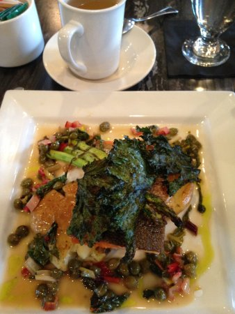 Tree Frog Bistro: Grilled steelhead with kale chips and vegetables.