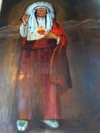 Saint Ignatius, MT: Christ as an Indian Chief, a life-sized painting in the rear of the church
