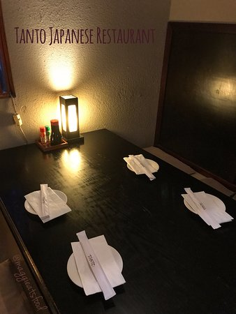 Tanto Japanese Restaurant : Special seats (4-6 people). You must take off your shoes!