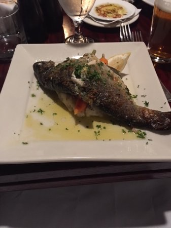 Jimmy's 21: Trout with mush potatoes and carrots .