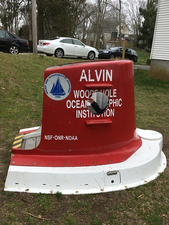 Small Alvin exhibit outside the Woods Hole.