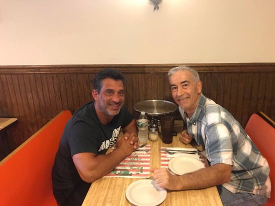 Nunzio's Pizzeria and Restaurant: My good friend Pasquale and I awaiting our large plain tomato pie at Nunzio's 8-8-17