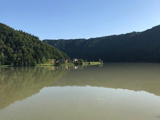 Schlogen, Austria: View from dining terrace