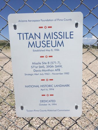 Titan Missile Museum: Sign at the front gate