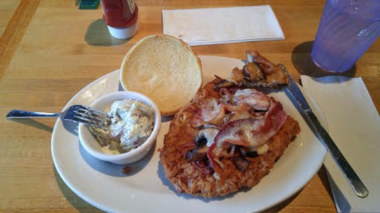 Geneseo, IL: Pork Tenderloin sandwich covered in mushrooms and bacon!