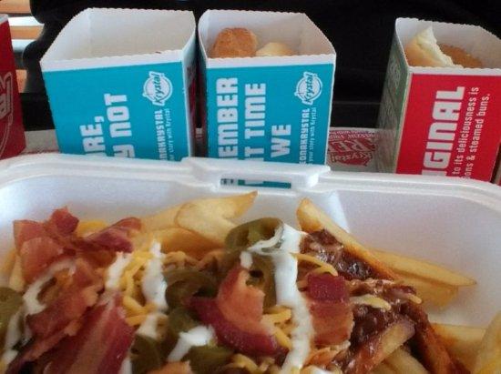 Bristol, VA: Krystal burgers & junkyard fries