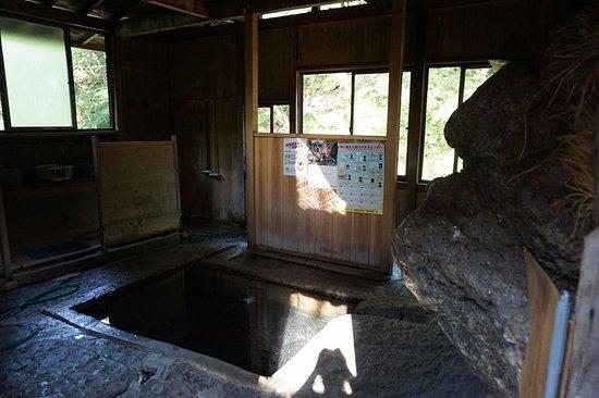 Yunohana Onsen Ishiyu: 施設内部。石が内部に飛び出している。