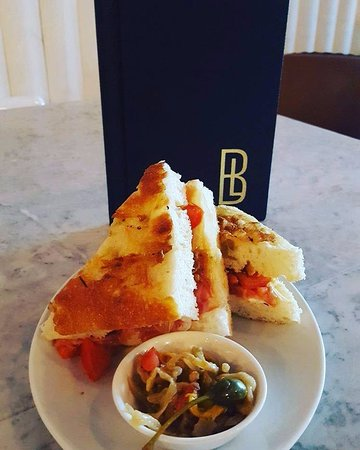 Prestwich, UK: Toasted prosciutto and mozzarella focaccia sandwich