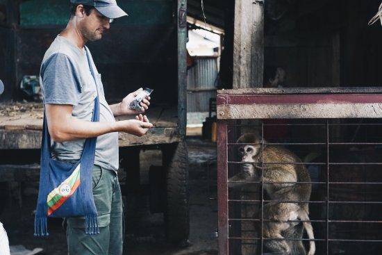 Lashio, Burma: Local monkey as a pet