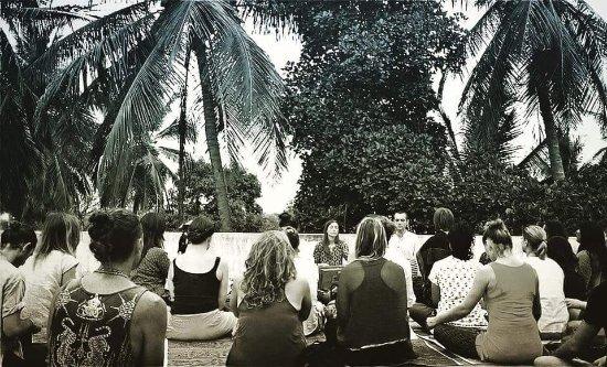 Aldona, India: Students at Yoga TTC in India with Noah McKenna