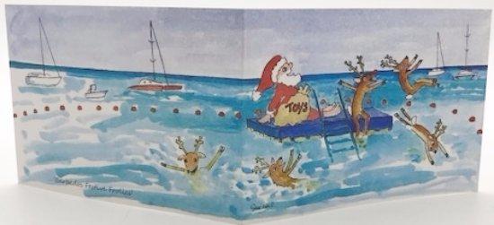 Holetown, Barbados: Festive Frolics Xmas card by Sue Trew