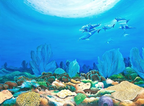 Rockley, Barbados: Dolphin Reef painting by Holly Trew