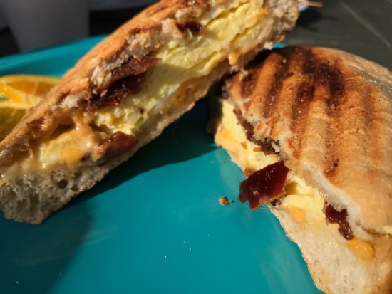 Driftwood Cafe: Bacon, egg and cheese on ciabatta bread.