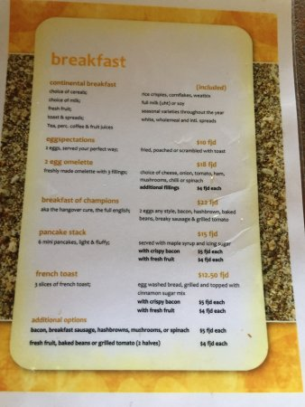 Breakfast menu Picture of Mango Bay Resort Fiji, Sigatoka