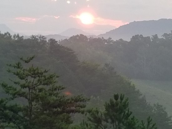 Berry Springs Lodge: A beautiful sunrise from the backdeck!