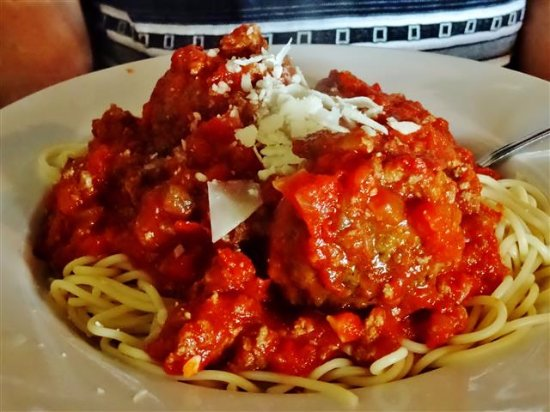 Spaghetti with homemade meatballs picture of bella 39 s - Italian garden boiling springs nc ...