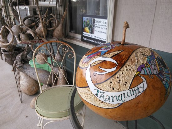"Organic Vessels Studio Gallery : Missy Miles-carved, wood burned, and painted gourd ""Tranquility"""