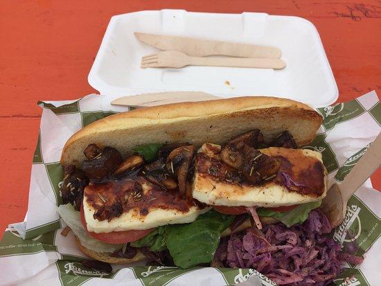 Brookland, UK: Delicious halloumi sub with rosemary mushrooms and onion jam