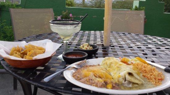 Good pork Chile Verde burrito, margarita