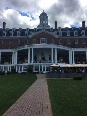 The Otesaga Resort Hotel: Looking up from the lake to the hotel