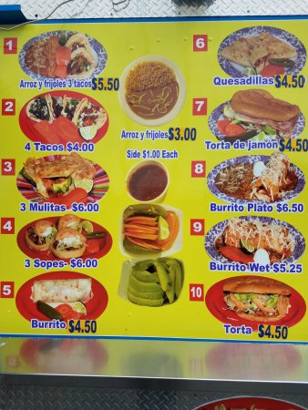 Menu As Of August 2017 Picture Of Taqueria Sanchez Oklahoma City