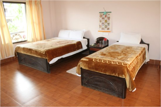 A standard double bed Tiger room at Hotel Monalisa chitwan.