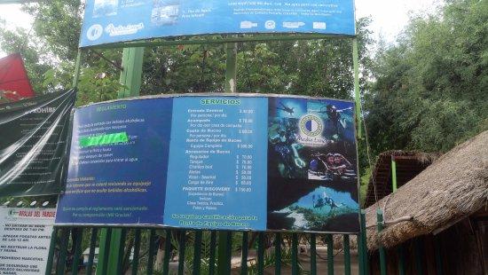 Rio Verde, Mexico: Aquí están los precios de los servicios y objetos que ofrecen en el lugar
