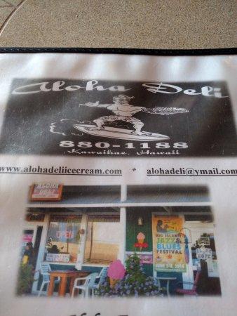 Aloha Deli Ice Cream & Shave Ice : Menu front