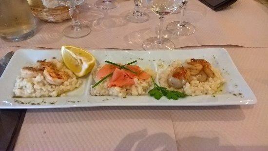 Le Bistro Romain : risoto saumon, crevettes, noix de St Jacques
