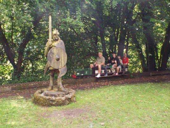 Tintern, UK: statues and mini train