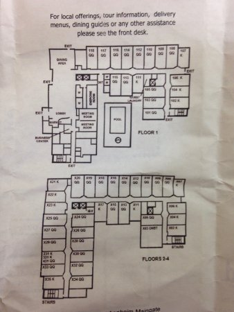 SpringHill Suites Anaheim Maingate: Floor plan w room numbers