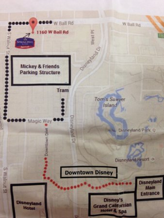 SpringHill Suites Anaheim Maingate: Walk to Disney Downtown map