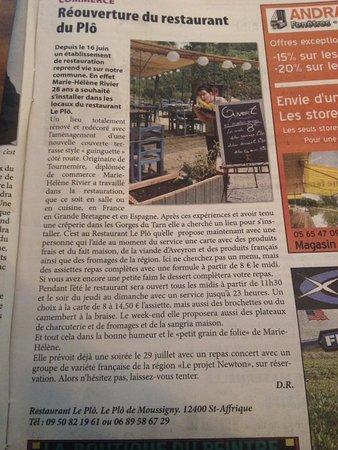 Saint-Affrique, Prancis: Article dans le journal local