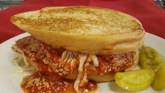 Krebs, OK: Chicken Parmesan sandwich