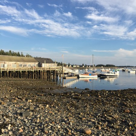 Islesford, ME: Restaurant / art shops and dock - taken from rock beach at low tide
