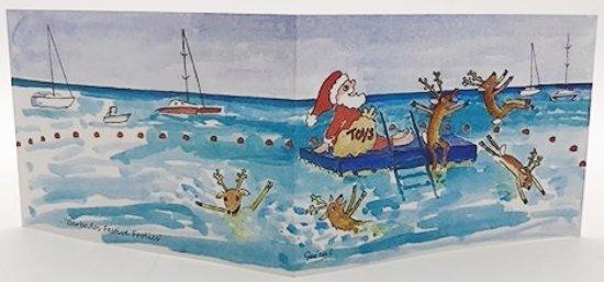 Rockley, Barbados: Festive Frolics Xmas card by Sue Trew