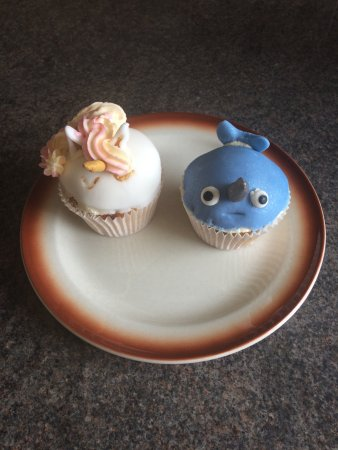 The Bay Coffee Co.: Two imaginative cup cakes made by Heather.