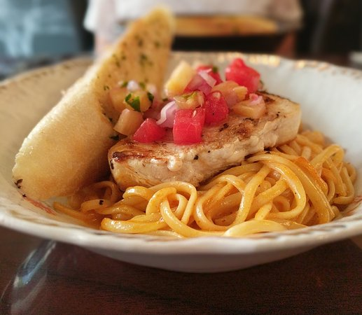 Blackboard Cafe: Swordfish and pasta with mango watermelon salsa, grilled pinapple, and curry coconut sauce. Beau