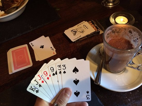 Craven Arms Cruck Barn: finally got to play cards!