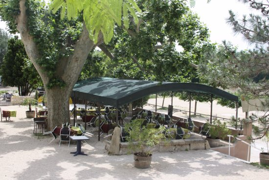 Roquemaure, Frankreich: Terrasse ombragée par pergola et platane Bi-centenaire