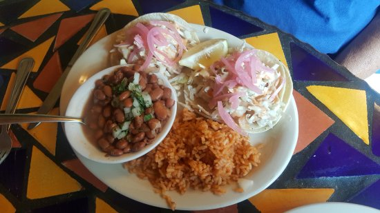 Wisdom's Cafe: shrimp tacos with macerated red onion