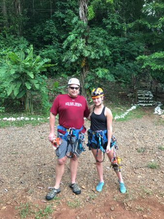 Belize District, Belize: My teen daughter and I after our zipline experience.