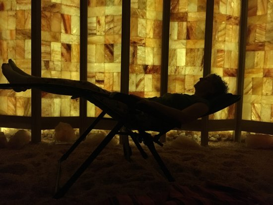 Bloomington, IN: Take off your shoes, kick back on a zero gravity chair and relax in our dry salt air cave!  45 m